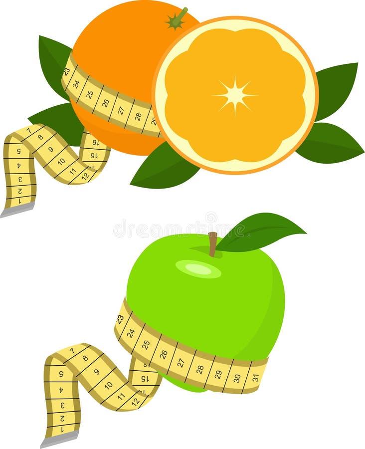 Πράσινα μήλο και πορτοκάλι με τη μέτρηση Διανυσματική απεικόνιση στο λευκό σιτηρέσιο έννοιας υγιει& ελεύθερη απεικόνιση δικαιώματος