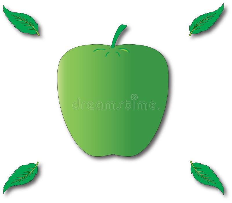 Πράσινα μήλο και φύλλο τέσσερα στοκ φωτογραφία με δικαίωμα ελεύθερης χρήσης