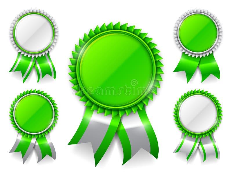 Πράσινα μετάλλια βραβείων απεικόνιση αποθεμάτων