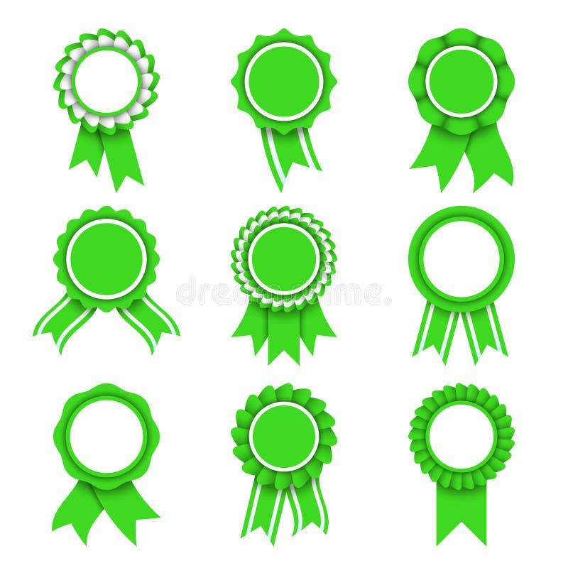 Πράσινα μετάλλια βραβείων ελεύθερη απεικόνιση δικαιώματος