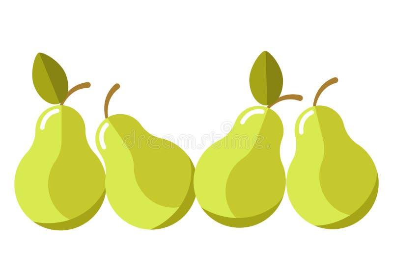 Πράσινα οργανικά juicy αχλάδια με απομονωμένη τη φύλλα απεικόνιση κινούμενων σχεδίων ελεύθερη απεικόνιση δικαιώματος