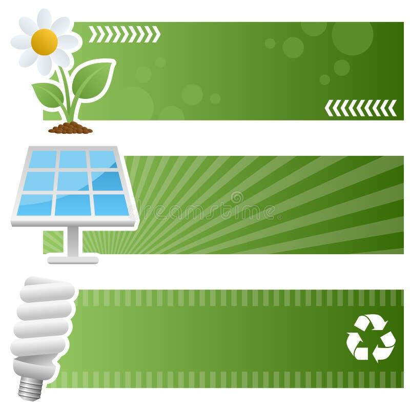 Πράσινα οριζόντια εμβλήματα οικολογίας ελεύθερη απεικόνιση δικαιώματος