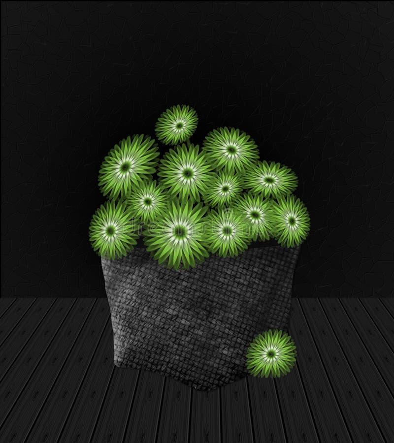 Πράσινα λουλούδια στο καλάθι στοκ εικόνα με δικαίωμα ελεύθερης χρήσης