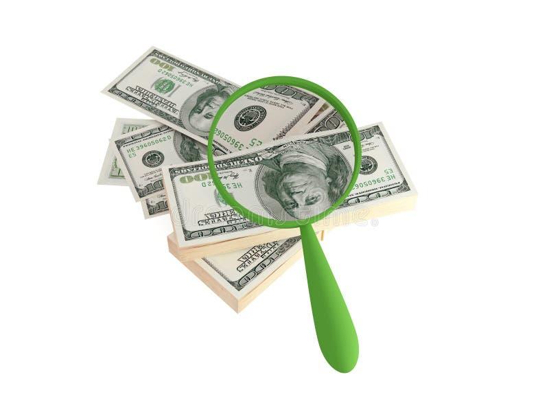 πράσινα πακέτα loupe δολαρίων απεικόνιση αποθεμάτων