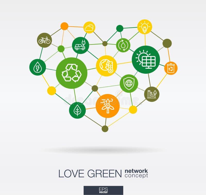 Πράσινα, περιβαλλοντικά ενσωματωμένα λεπτά εικονίδια γραμμών αγάπης στη μορφή καρδιών Ψηφιακή νευρική έννοια δικτύων διανυσματική απεικόνιση