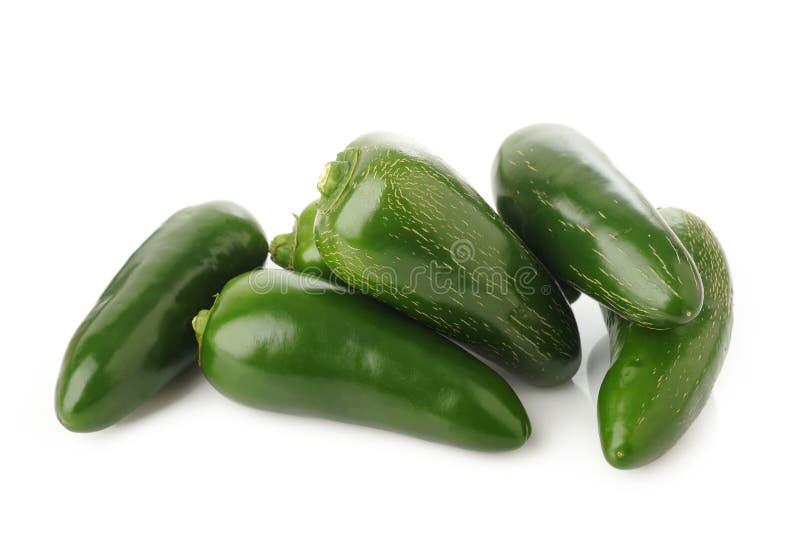 Πράσινα πιπέρια jalapeno στο λευκό στοκ φωτογραφία με δικαίωμα ελεύθερης χρήσης