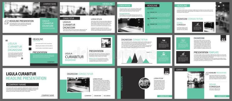 Πράσινα πρότυπα παρουσίασης για την ΤΣΕ στοιχείων infographics φωτογραφικών διαφανειών διανυσματική απεικόνιση