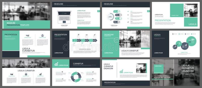 Πράσινα πρότυπα παρουσίασης και στοιχεία infographics backgroun ελεύθερη απεικόνιση δικαιώματος