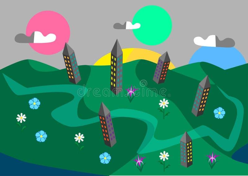 Πράσινα πόλη και λουλούδια διανυσματική απεικόνιση