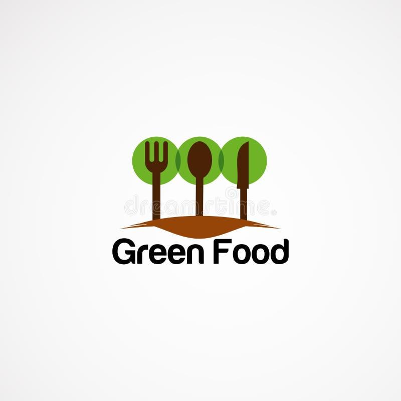 Πράσινα σχέδια, εικονίδιο, στοιχείο, και πρότυπο λογότυπων τροφίμων για την επιχείρηση ελεύθερη απεικόνιση δικαιώματος