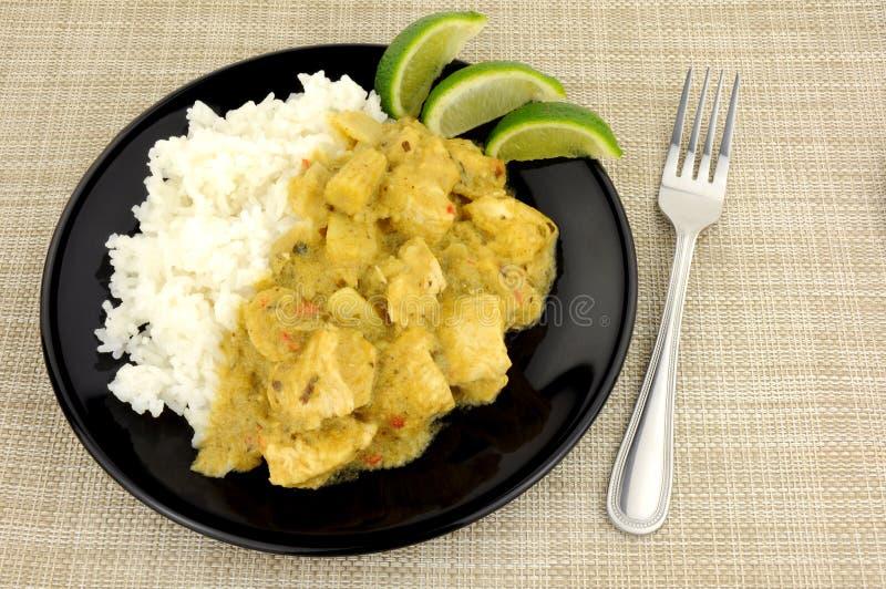 Πράσινα ταϊλανδικά κάρρυ και ρύζι κοτόπουλου στοκ εικόνες με δικαίωμα ελεύθερης χρήσης