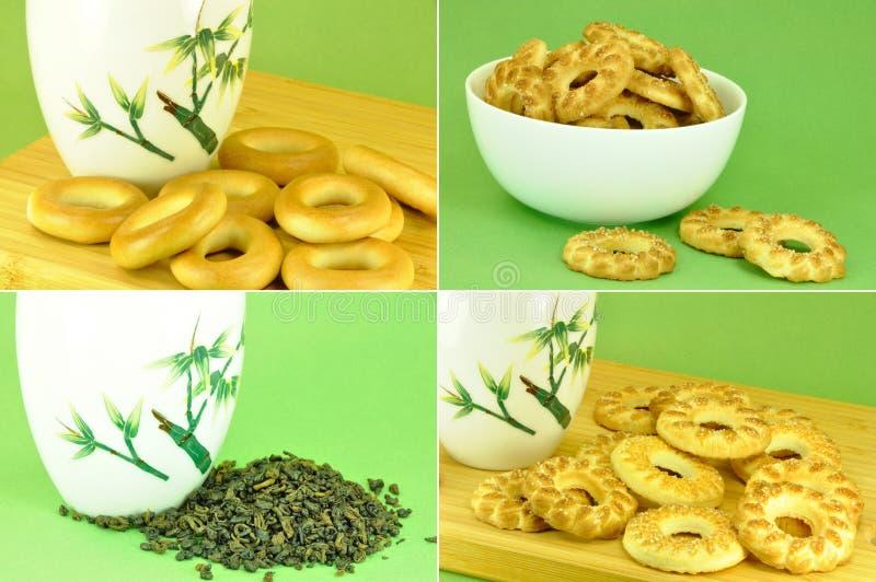 Πράσινα τσάι και μπισκότα στην πράσινη ανασκόπηση στοκ εικόνα
