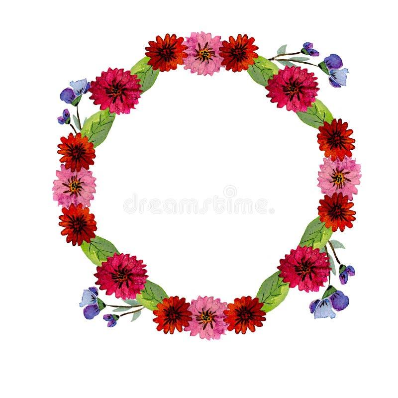 Πράσινα φύλλα απεικόνισης Watercolor και ρόδινα, κόκκινα, και μπλε λουλούδια ελεύθερη απεικόνιση δικαιώματος