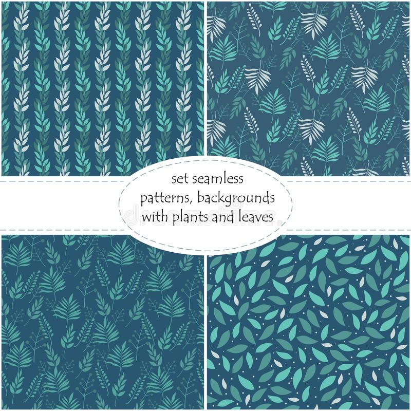 Πράσινα φύλλα γεωμετρικά που εντοπίζει σε ένα σκούρο μπλε υπόβαθρο, άνευ ραφής υπόβαθρο, σύσταση, διανυσματική απεικόνιση ελεύθερη απεικόνιση δικαιώματος