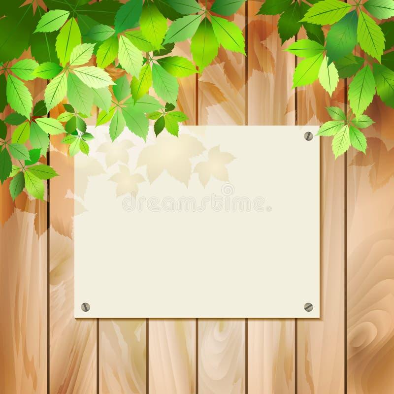 Πράσινα φύλλα σε μια ξύλινη σύσταση. Διανυσματική ανασκόπηση απεικόνιση αποθεμάτων