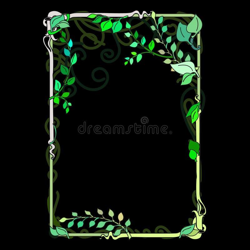 πράσινα φύλλα άνοιξη πλαισίων, διακοσμητικός, άνθισμα Nouveau που λεκιάζουν διανυσματική απεικόνιση