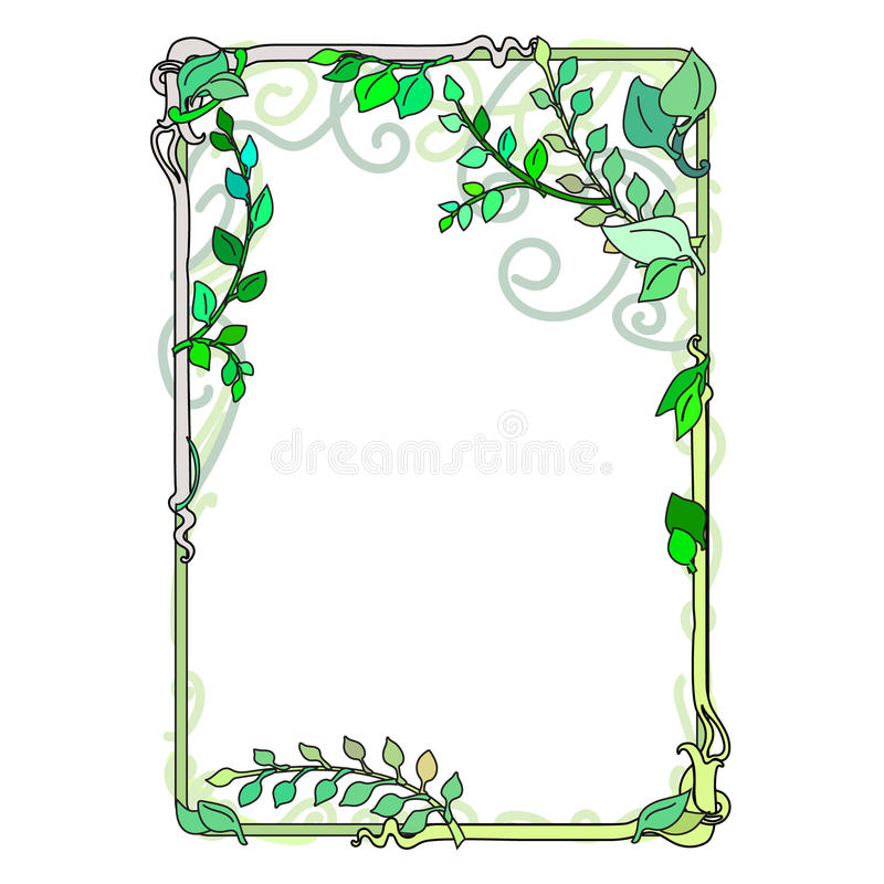 πράσινα φύλλα άνοιξη πλαισίων, διακοσμητικός, άνθισμα Nouveau που λεκιάζουν ελεύθερη απεικόνιση δικαιώματος