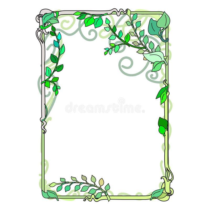 πράσινα φύλλα άνοιξη πλαισίων, διακοσμητικός, άνθισμα Nouveau που λεκιάζουν απεικόνιση αποθεμάτων