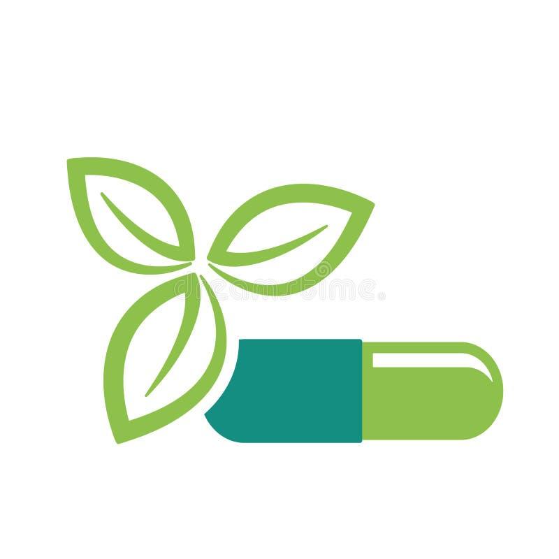 Πράσινα φύλλα και εικονίδιο χαπιών διανυσματική απεικόνιση