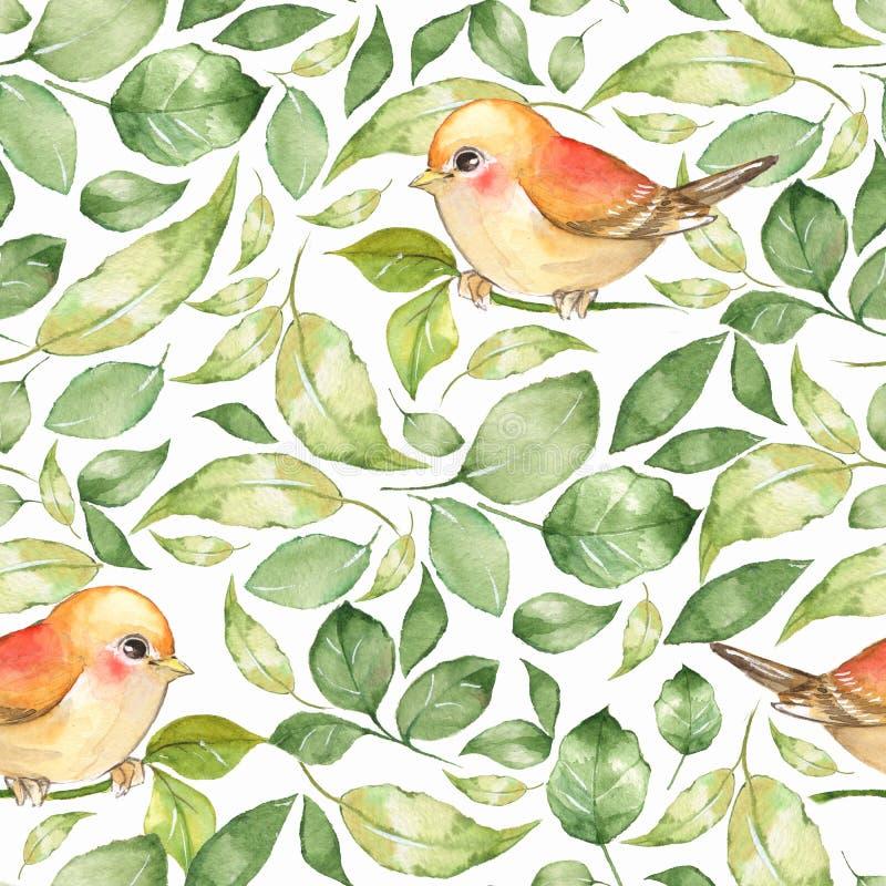 Πράσινα φύλλα και πουλιά διανυσματική απεικόνιση