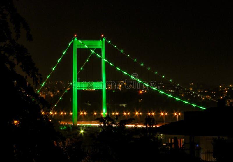 Πράσινα φώτα πέρα από τη γέφυρα στοκ εικόνες με δικαίωμα ελεύθερης χρήσης