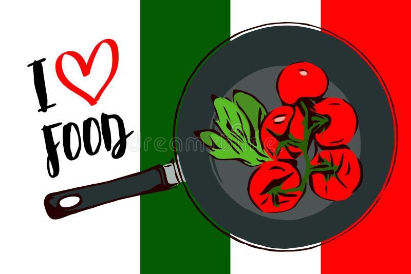 Πράσινα χορτάρια κινούμενων σχεδίων και brunch των κόκκινων ντοματών κερασιών μέσα στο τηγάνισμα του τηγανιού Τοπ άποψη του τηγαν απεικόνιση αποθεμάτων
