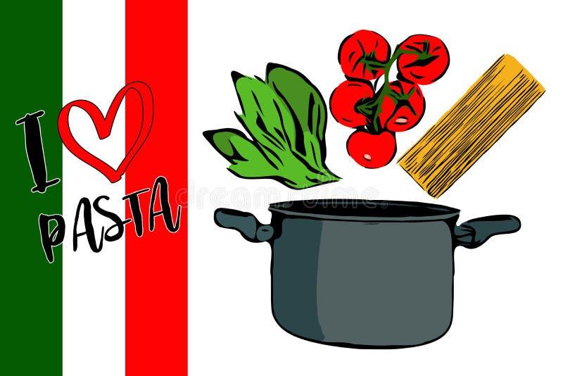Πράσινα χορτάρια, brunch των κόκκινων ντοματών και του spaghettini κερασιών που πηγαίνουν στο γκρίζο δοχείο διανυσματική απεικόνιση