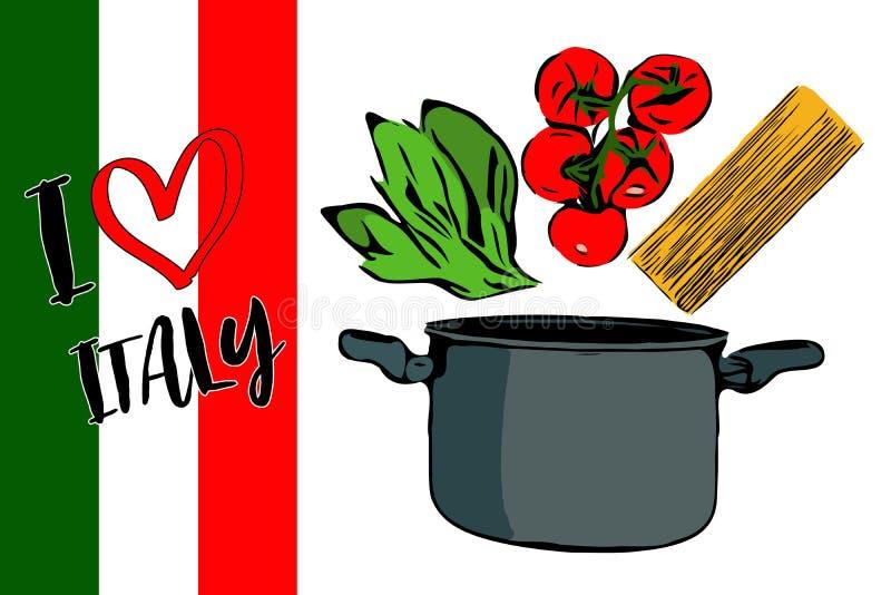 Πράσινα χορτάρια, brunch των κόκκινων ντοματών και του spaghettini κερασιών που πηγαίνουν στο γκρίζο δοχείο ελεύθερη απεικόνιση δικαιώματος