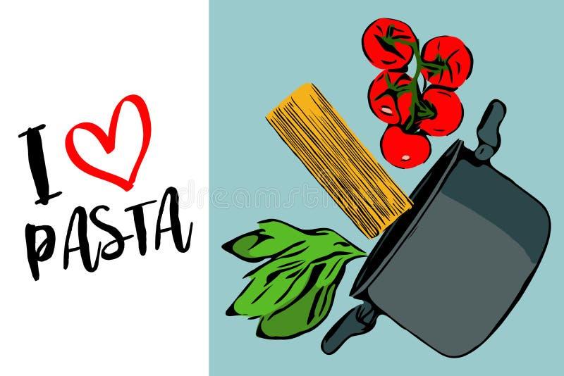 Πράσινα χορτάρια, brunch των κόκκινων ντοματών και του spaghettini κερασιών που περιέρχονται στο γκρίζο δοχείο στο μπλε υπόβαθρο διανυσματική απεικόνιση