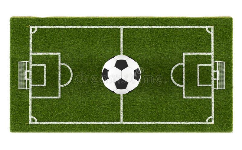 Πράσινες γήπεδο ποδοσφαίρου χλόης και σφαίρα ποδοσφαίρου στο υπόβαθρο τομέων Τρισδιάστατη περιοχή αντικειμένου παιχνιδιών γηπέδου στοκ φωτογραφία