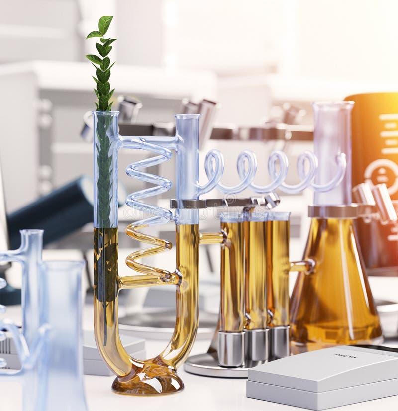 Πράσινες εγκαταστάσεις στη χημική έννοια εργαστηριακών επιστήμης και τεχνολογίας στοκ εικόνες
