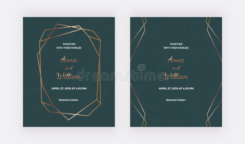 Πράσινες κάρτες γαμήλιας πρόσκλησης με το χρυσό polygonal πλαίσιο και τις γεωμετρικές γραμμές Καθιερώνοντα τη μόδα πρότυπα για το απεικόνιση αποθεμάτων