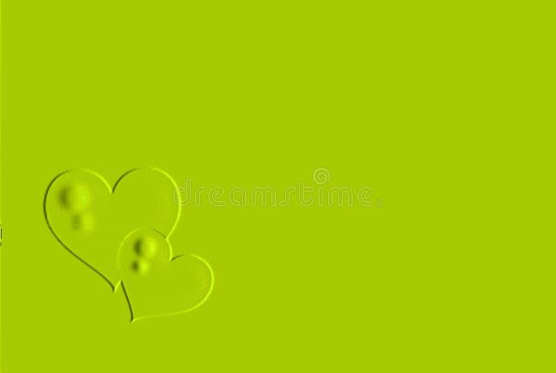 Πράσινες καρδιές με το πράσινο υπόβαθρο στοκ εικόνες