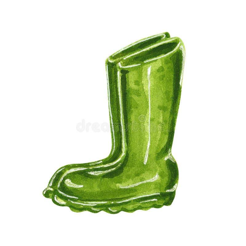 Πράσινες λαστιχένιες μπότες κήπων, συρμένη χέρι απεικόνιση watercolor απεικόνιση αποθεμάτων