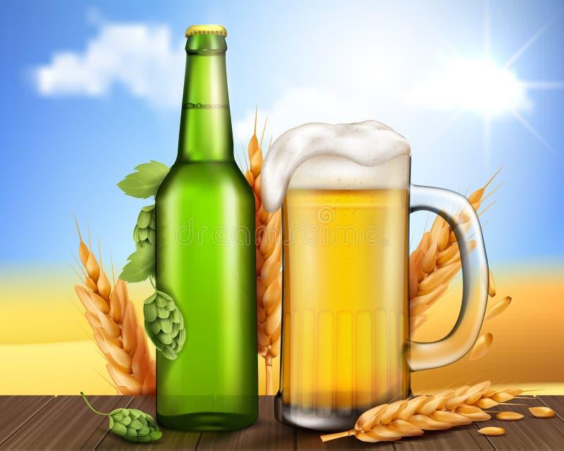 Πράσινες μπουκάλι και κούπα γυαλιού με την μπύρα τεχνών διανυσματική απεικόνιση