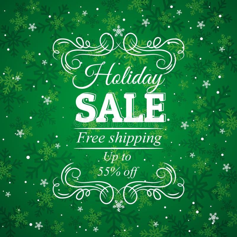 Πράσινες υπόβαθρο και ετικέτα Χριστουγέννων με την πώληση μακριά διανυσματική απεικόνιση
