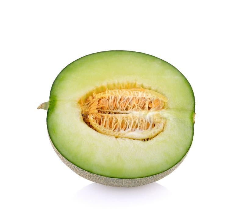 Πράσινες φέτες πεπονιών πεπονιών στο άσπρο υπόβαθρο στοκ εικόνα με δικαίωμα ελεύθερης χρήσης