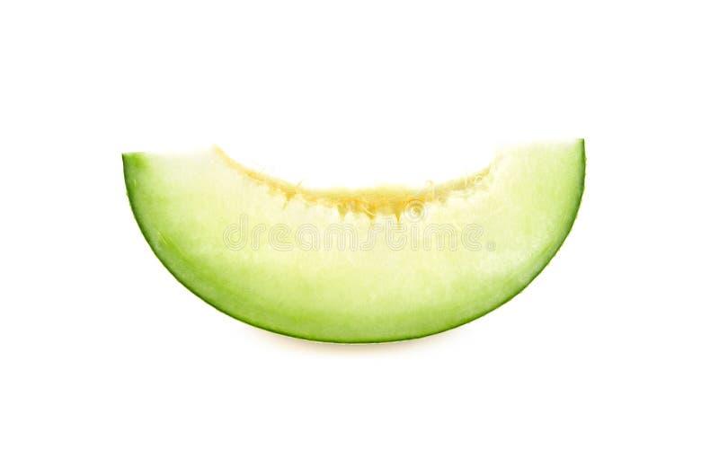 Πράσινες φέτες πεπονιών πεπονιών στο άσπρο υπόβαθρο στοκ φωτογραφία με δικαίωμα ελεύθερης χρήσης