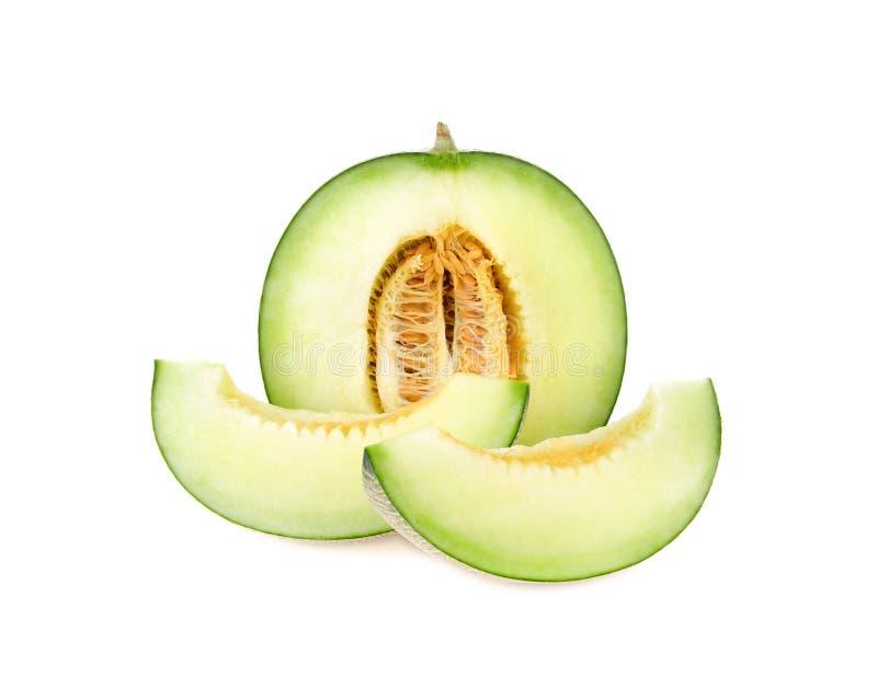 Πράσινες φέτες πεπονιών πεπονιών στο άσπρο υπόβαθρο στοκ εικόνες