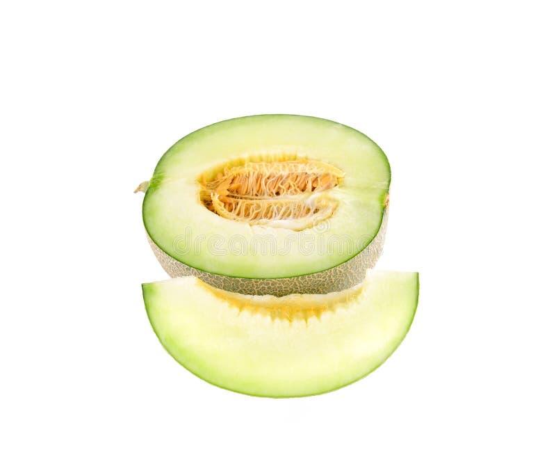 Πράσινες φέτες πεπονιών πεπονιών στο λευκό στοκ εικόνες