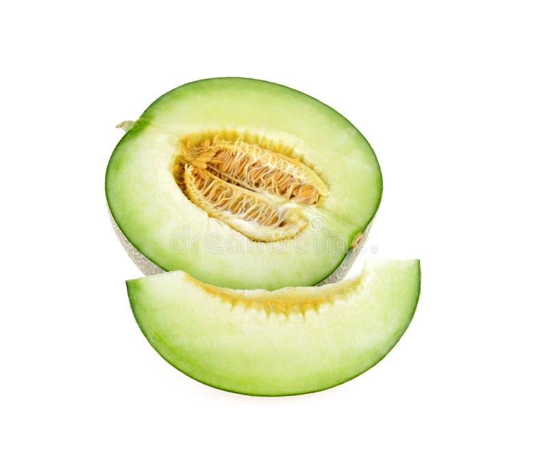 Πράσινες φέτες πεπονιών πεπονιών στο λευκό στοκ φωτογραφία με δικαίωμα ελεύθερης χρήσης
