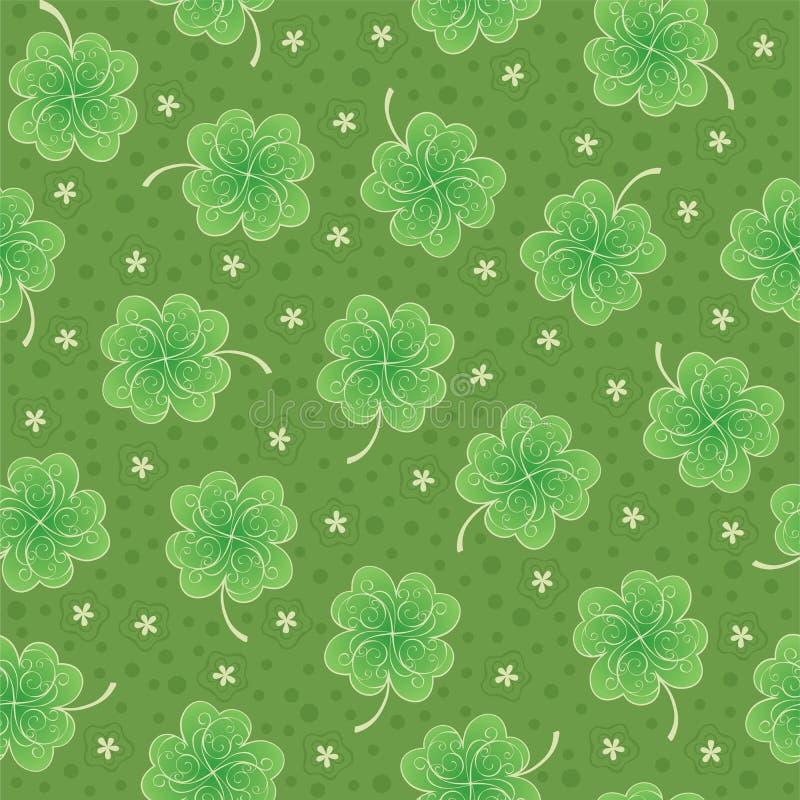 Πράσινη άνευ ραφής ανασκόπηση με το τριφύλλι απεικόνιση αποθεμάτων