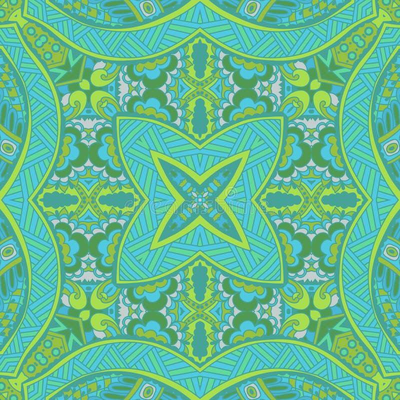 Πράσινη άνευ ραφής ζωηρόχρωμη γεωμετρική τυπωμένη ύλη άνοιξη διανυσματική απεικόνιση