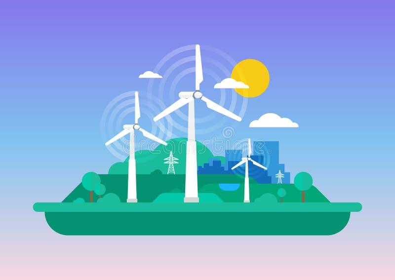 Πράσινη έννοια - αιολική ενέργεια διανυσματική απεικόνιση
