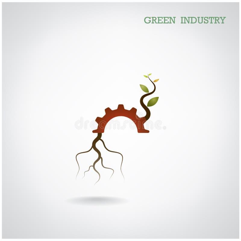 Πράσινη έννοια βιομηχανίας Μικρό σύμβολο εγκαταστάσεων και εργαλείων, επιχείρηση απεικόνιση αποθεμάτων