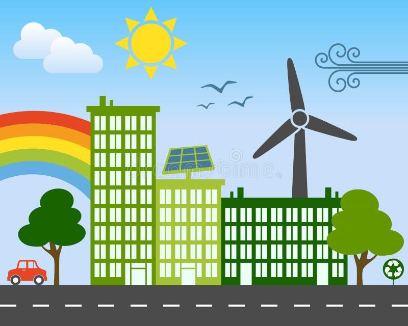 Πράσινη έννοια ενεργειακών πόλεων απεικόνιση αποθεμάτων