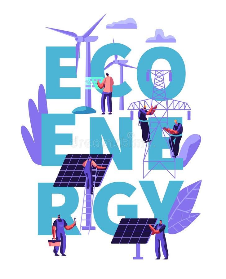Πράσινη έννοια καθαρής ενέργειας Eco εναλλακτική, οικολογία, περιβάλλον Άνθρωποι στους στροβίλους ανεμόμυλων, ηλιακά πλαίσια Βιώσ απεικόνιση αποθεμάτων