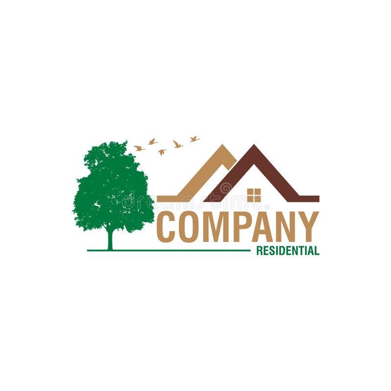 Πράσινη έννοια λογότυπων ακίνητων περιουσιών διανυσματική απεικόνιση