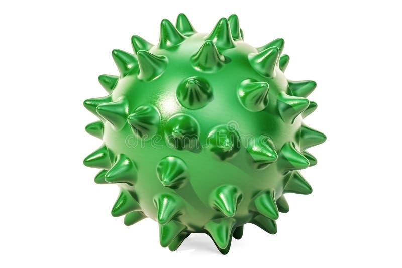 Πράσινη ακιδωτή σφαίρα για το μασάζ ή παιχνίδι για τα κατοικίδια ζώα τρισδιάστατη απόδοση απεικόνιση αποθεμάτων