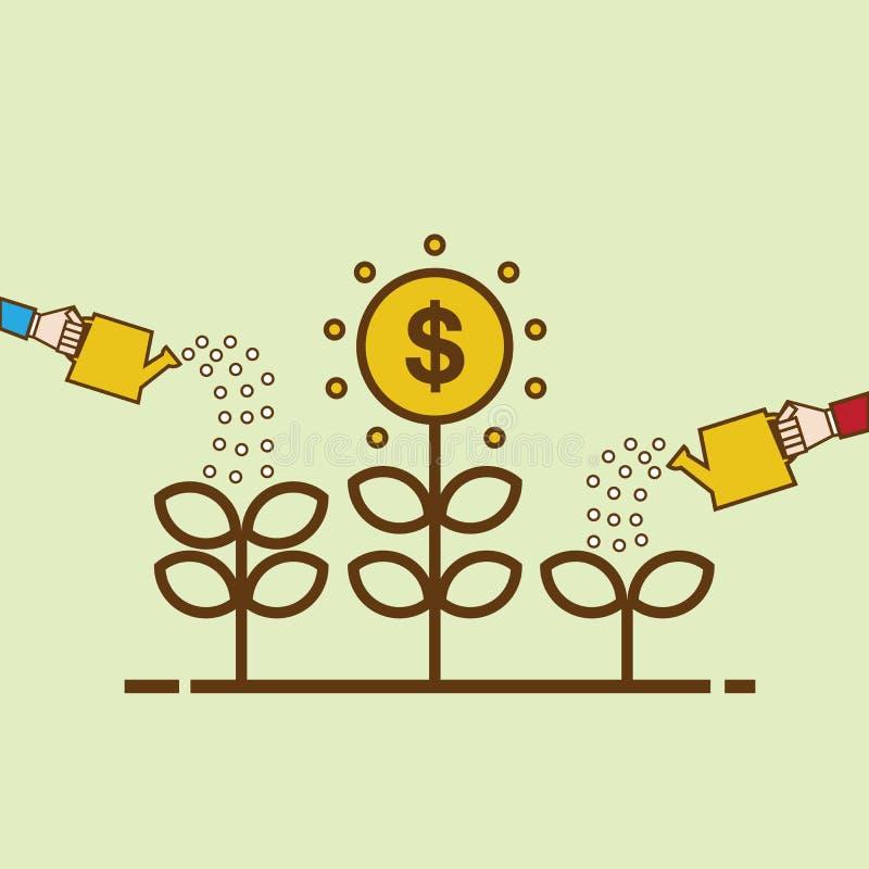 πράσινη αναπτύσσοντας ανάπτυξη χλόης δολαρίων λογαριασμών εκατό χρήματα ένα Επίπεδη απεικόνιση σχεδίου Δέντρο χρημάτων ποτίσματος διανυσματική απεικόνιση